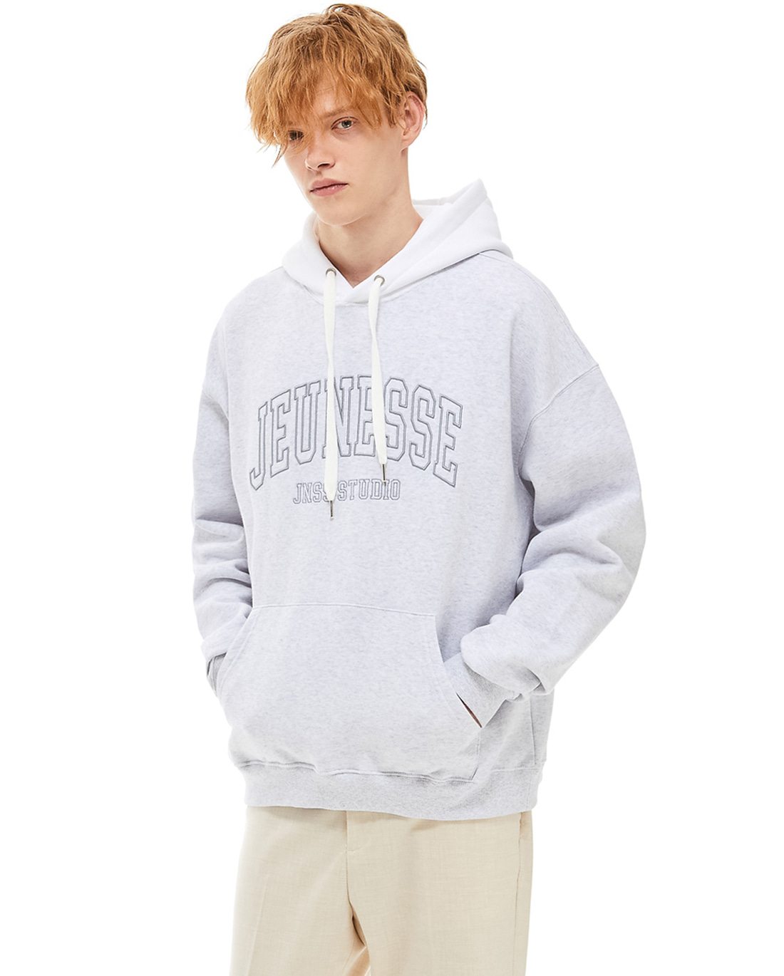 Color Block Hoodie Light Grey (기모)