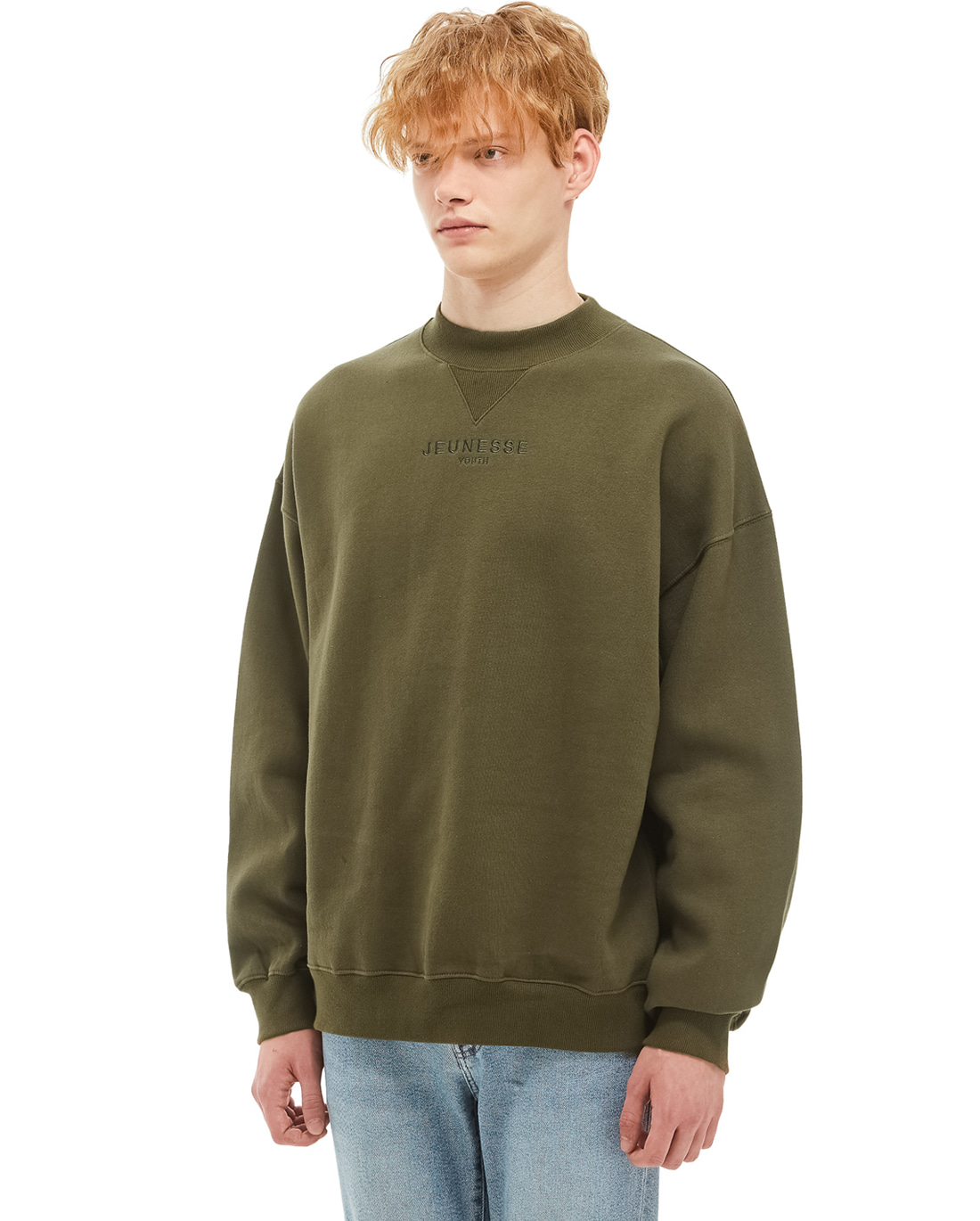 Mock Neck Sweatshirts Khaki (기모)