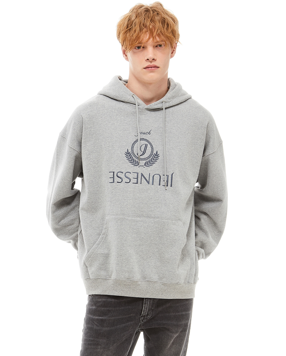 Jeunesse Embroidery Hoodie Grey (4단 헤비 쭈리)