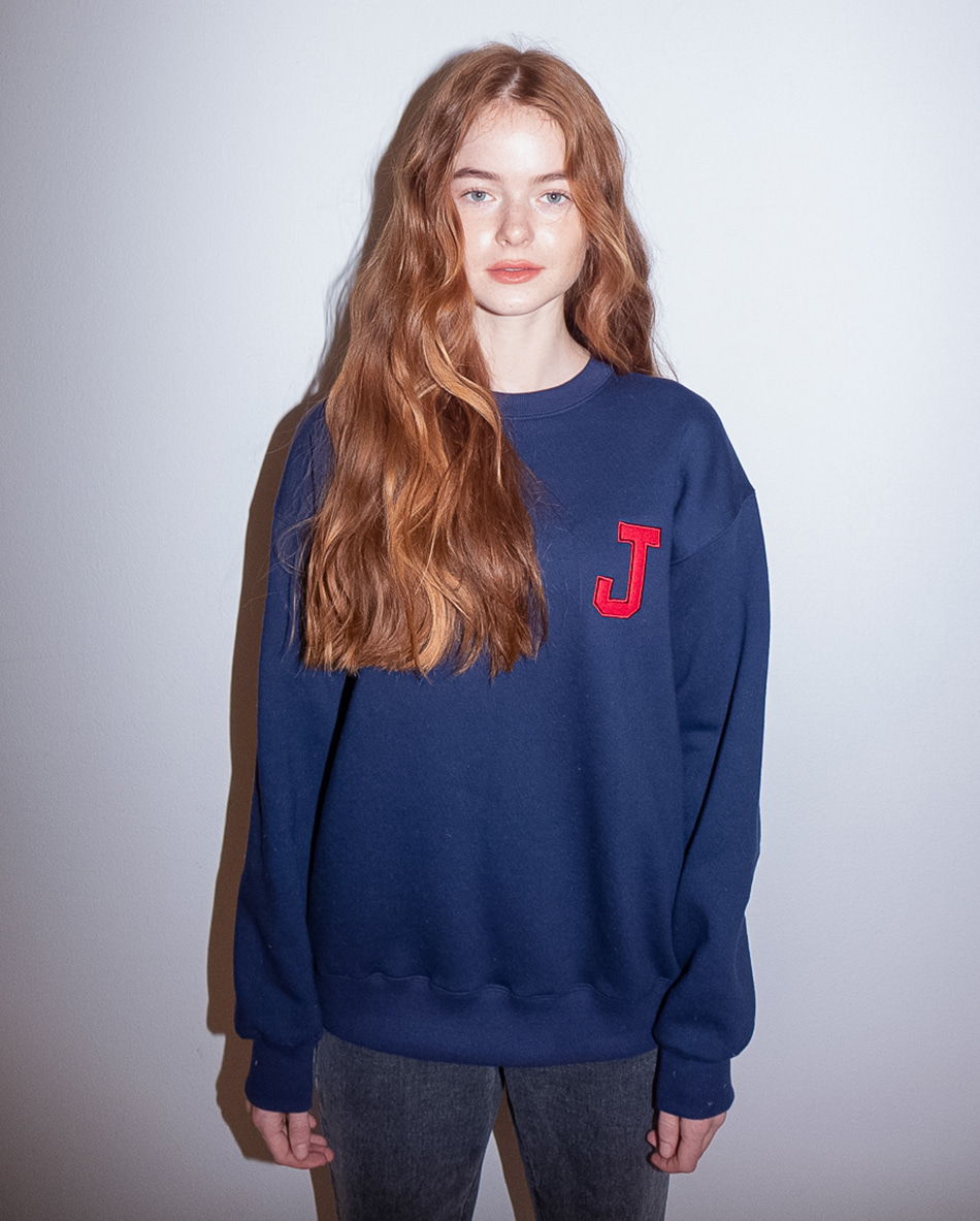 College J logo Sweatshirts Navy (기모)