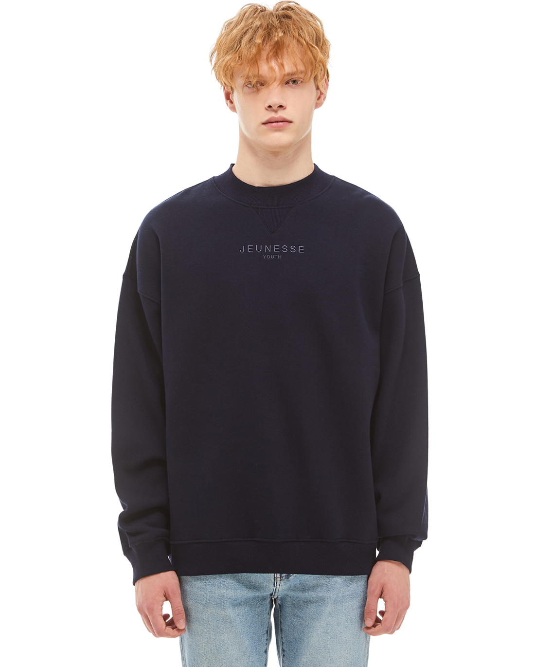 Mock Neck Sweatshirts Navy (기모)