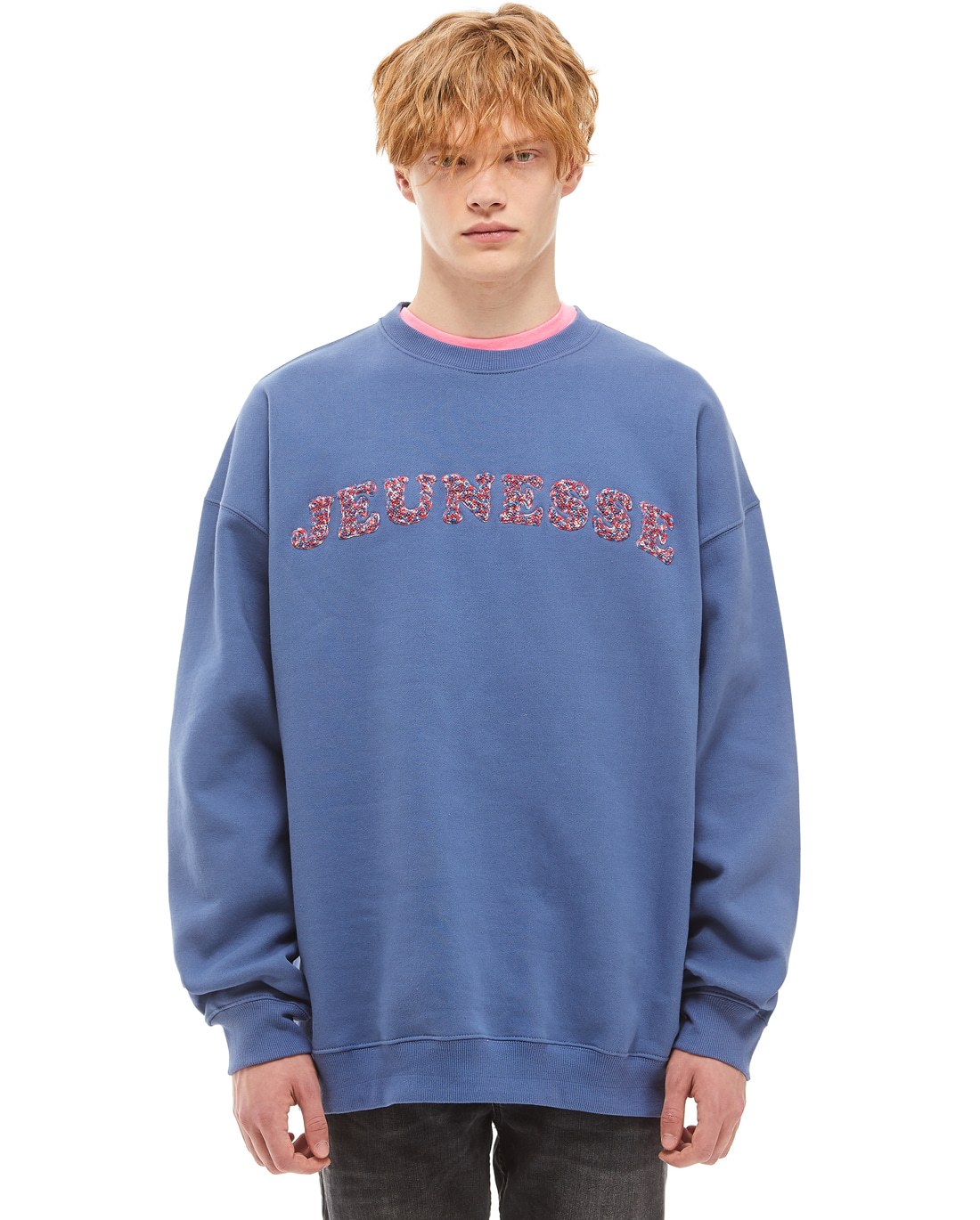 Chenille Embo Sweatshirts Skyblue (기모)