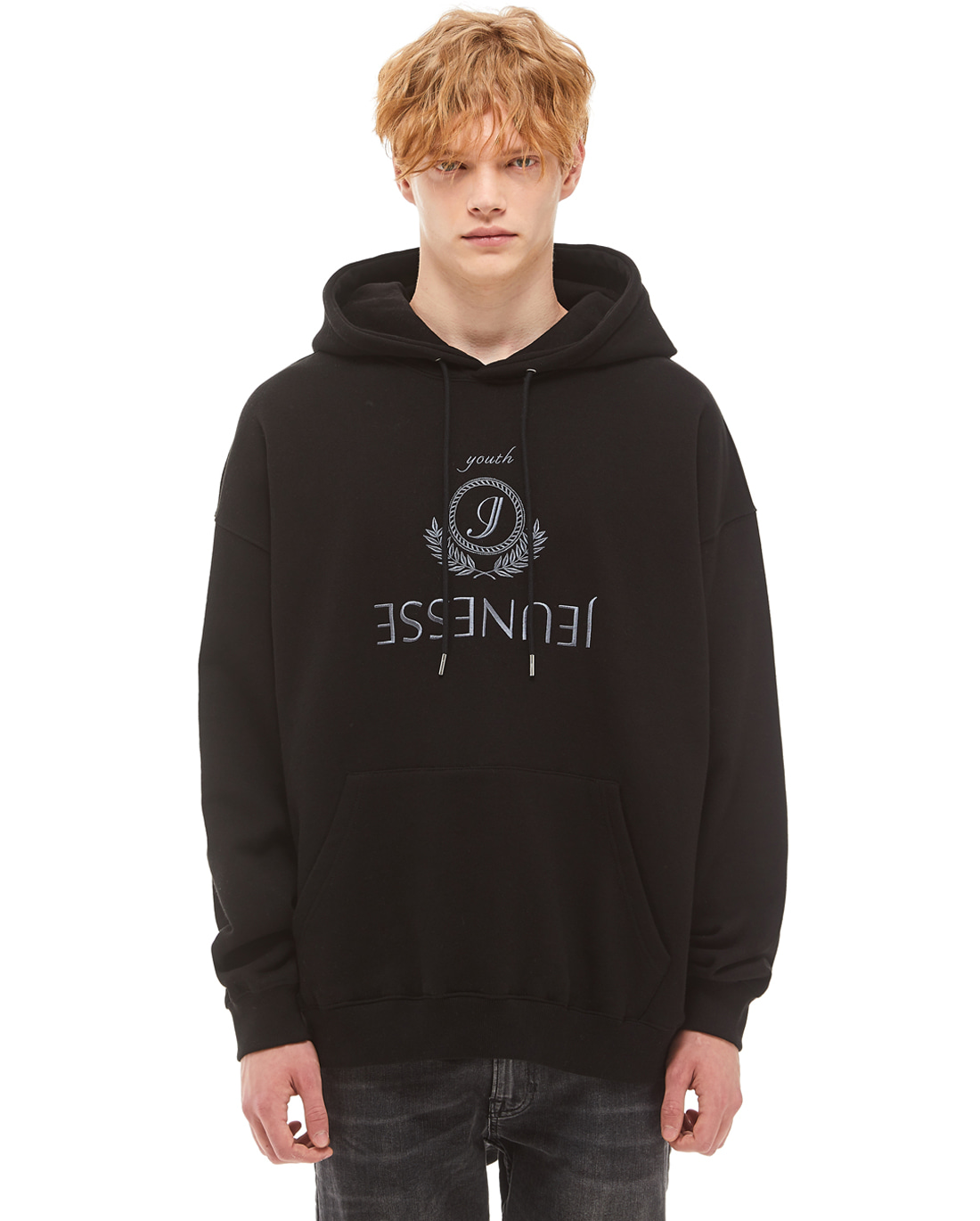 Jeunesse Embroidery Hoodie Black (4단 헤비 쭈리)